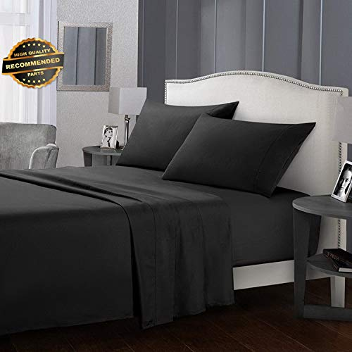Gatton Premium New Deep Pocket 4 Piece Bed Sheet Set Solid Color Sheets Soft Comfort Brown Black   Collection - Pocket Set Hanger Four