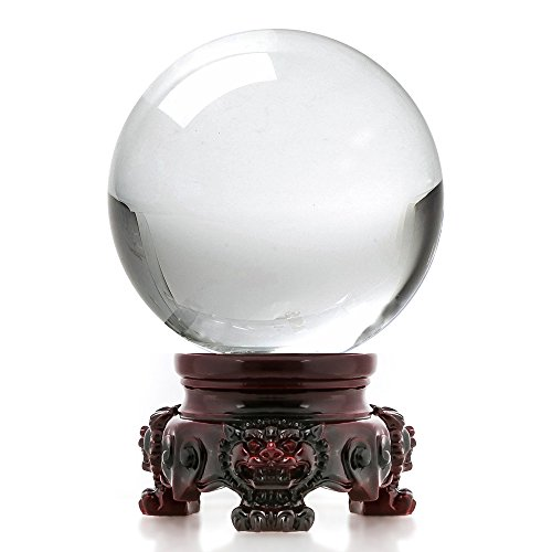 Mystic Gazing Ball - Amlong Crystal 3 inch (80mm) Clear Crystal Ball with Redwood Lion Resin Stand