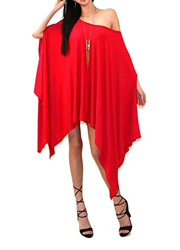 Vivicastle Women's Loose Bat Wing Dolman Poncho Tunic Dress Top (one Size, RED) -