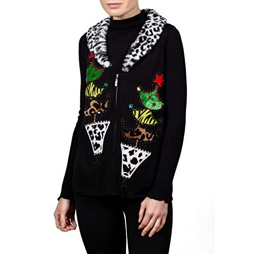 Berek Christmas Sweater Vest with Leopard Faux Fur Collar