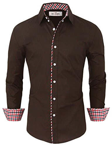 Tom's Ware Mens Fashion Casual Inner Plaid Long Sleeve Button Down Shirt TWNMS310S-A-BROWN-US L