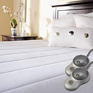 Amazon Com Sunbeam Quilted Polyester Heated Mattress Pad