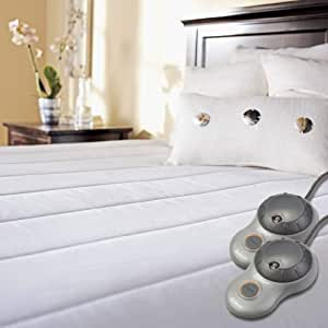 Sunbeam Quilted Heated Mattress Pad with Dual EasySet Pro Controllers, Queen