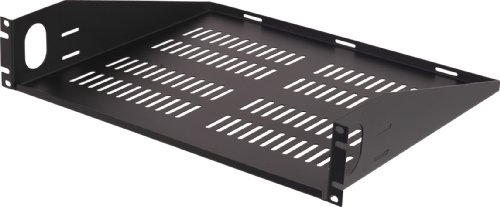 VMP ER-S2UV Universal Vented Two Space Equipment Rack Shelf (Black) by Video Mount Products