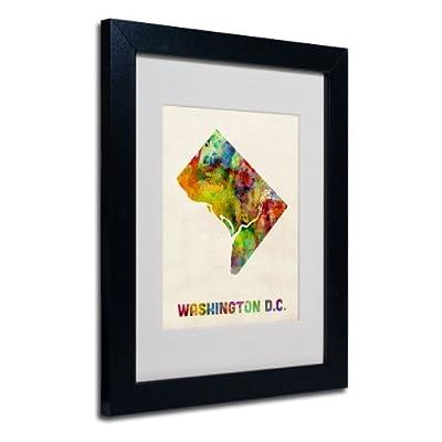 Trademark Fine Art Washington D.C. Map Matted Framed Art by Michael Tompsett in Black Frame