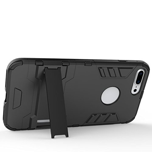 2 in 1 New Armour Tough Art Hybrid Dual Layer Rüstung Defender PC Hard Cases mit Ständer Stoß- Fall für iPhone 7 plus ( Color : Black-b )