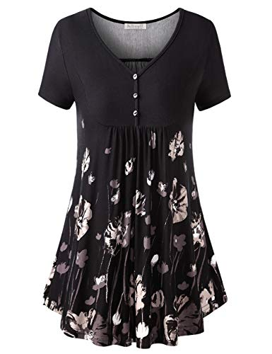 - BAISHENGGT Women's V Neck Buttons Pleated Flared Tunic Tops Black Floral M