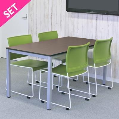 おしゃれなミーティング テーブル セット 4人用 ダークxグリーン RFMT-1575D-BONUM-GREEN B079NBM2WP チェア_グリーン チェア_グリーン