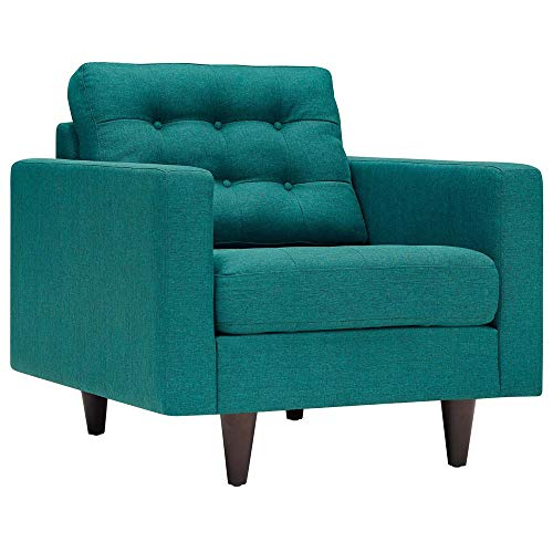 (Modway EEI-1013-TEA Empress Mid-Century Modern Upholstered Fabric Accent Arm Lounge Chair Teal)