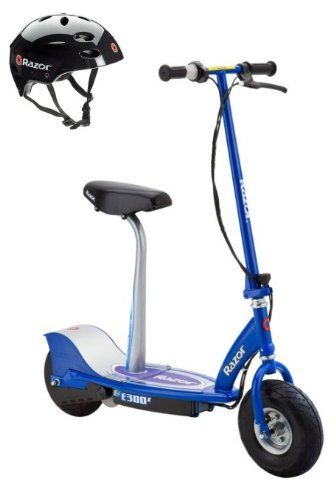 Razor E300S Seated Electric Motorized Scooter (Blue) & Youth Helmet (Black) (Seat Razor Scooter With Electric)