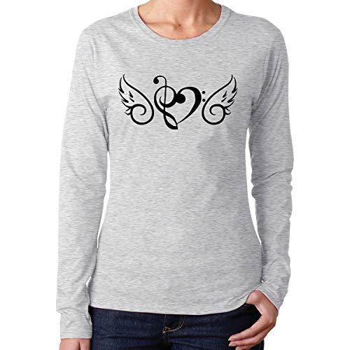 Women's Long Sleeve 100% Cotton T-Shirts, Comfortable Music
