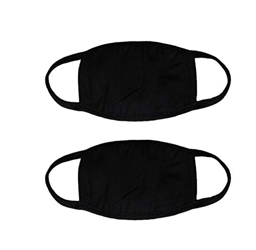 (2 Pcs Unisex Adult Cotton Blend Ear Loop Face Mouth Mask Anti Dust Warm Ski Cycling Safety K-pop Fashion Mask Various Use (Black))