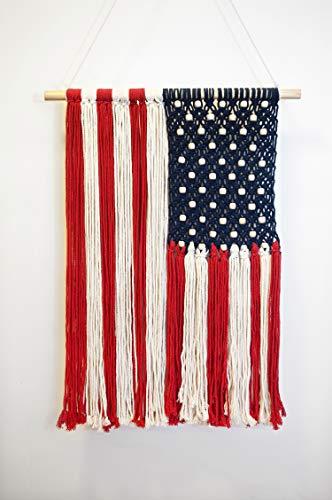 Your Comfy Space - Boho Wall Decor - Patriotic American Flag - Unique Macrame Design. 17