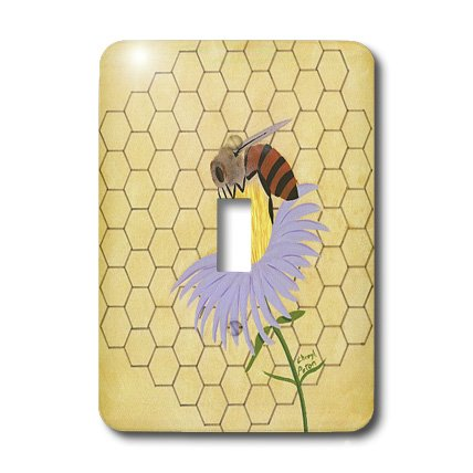 Bee Switchplate (3dRose lsp_13577_1 Honey Bee On Flower Single Toggle Switch)