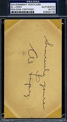 AL LOPEZ 1940 GPC GOVERNMENT POSTCARD PSA/DNA SIGNED AUTHENTIC AUTOGRAPH