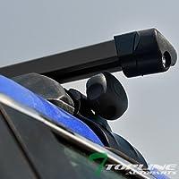 "Topline Autopart 50"" Universal Black Adjustable Aluminum Square Window Frame Roof Rack Rail Cross Bars Utility Cargo Carrier"