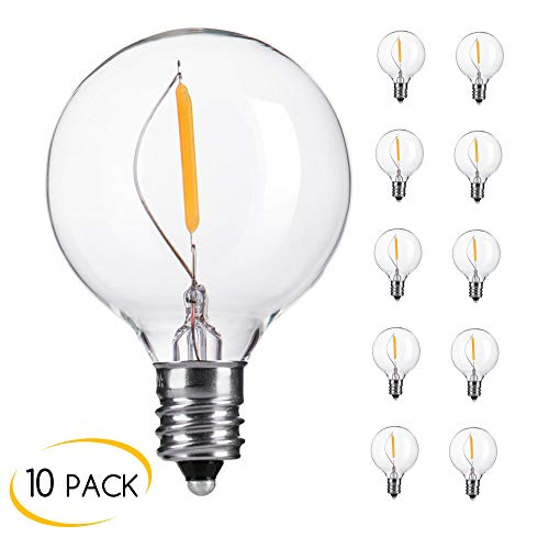 Brightown Clear Globe G40 Screw Base LED Light Bulbs, Pack of 10