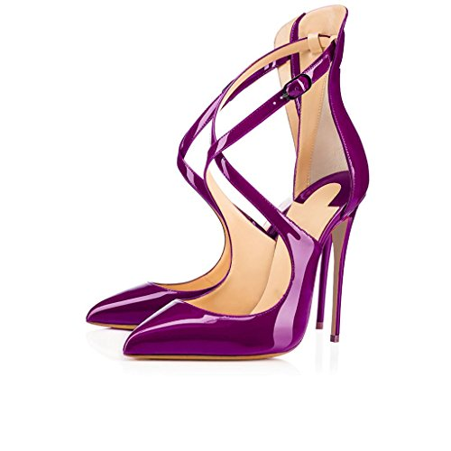 EDEFS Womens Court Shoes Stiletto High Heels Pumps Pointed Toe Dress Shoes Fashion Ankle Strap Shoe Purple DQ7TWL7d