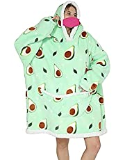 Oversized Blanket Hoodie Flannel Wearable Blanket Sweatshirt with Deep Pockets and Sleeves Soft Warm Lounging Hoodie for Adults Kids (Green avocados, Adult)