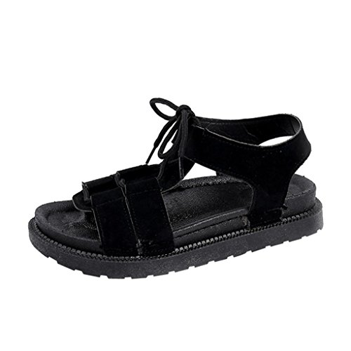 Clearance Women Casual Solid Gladiator Round Toe Cross Tied Sandals Flatform Beach Shoes(Black, CN37(US (39' Combination Kitchen)