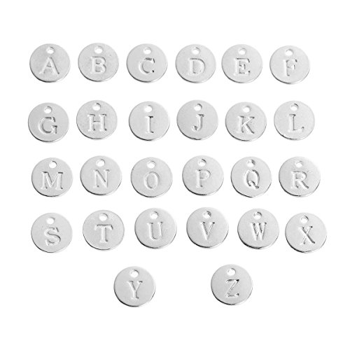 PEPPERLONELY 26pc Plated Silver Alloy Mixed Initial Alphabet/Letter A-Z Round Charms Pendants 12mm Dia (1/2