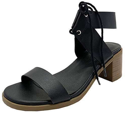 Wild Diva Women's Open Toe Low Chunky Block Heel Ankle Strap Bow Tie Sandal Pumps Shoes