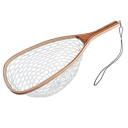 Booms Fishing N2 Fly Fishing Trout Net - Rubber with Wood Landing Mesh Basket