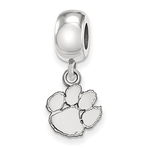 Sterling Silver LogoArt Official Licensed Collegiate Clemson University (CU) XS Dangle Bead Charm