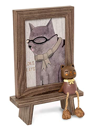 4x6 Picture Frame Cat Kitten Pet Lovers | Table top with Real Glass | Art Decorative Display Photo Frame(Dark Grey)