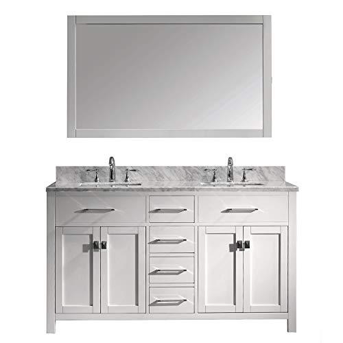 Virtu USA Caroline 60 inch Double Sink Bathroom Vanity Set in White -