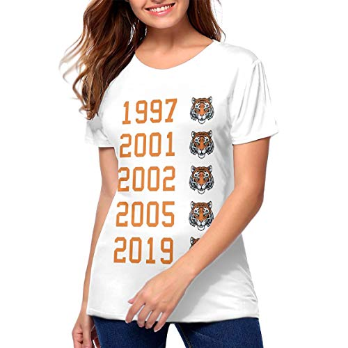 (Tiger Head Master Championships Graphic Tee, Tiger Woods 2019 Masters Champion, 1997, 2001, 2002, 2005, 2019 Womans Tee White)