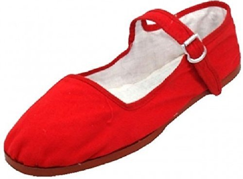 Emuna Womens Cotton Mary Jane Shoes Ballerina Ballet Flats Shoes (11, Red 114)