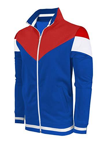 SCREENSHOTBRAND-F11956 Mens Urban Hip Hop Premium Track Jacket - Athletic Color Block Fashion Sweatshirt-Royal-Medium