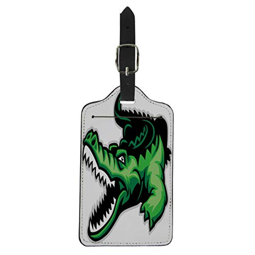 Semtomn Luggage Tag Green Alligator Crocodile Mascot Angry Skin Teeth Aggressive Head Suitcase Baggage Label Travel Tag Labels ()