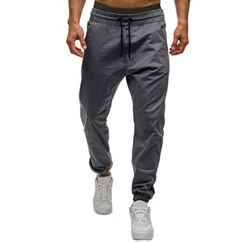 Aurorax Men's Running Jogger,Fit Solid Sweatpant Casual Stretch Drawstring Sports Pants [Outdoor Bottom Pants Trousers] (Gray, XXL) - Pleats Straight Leg Trousers