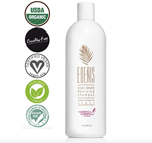 EDENIS Certified Organic Reviving Shampoo for Color Treated Hair | Professional Sulfate Free Shampoo | Natural Extracts to Revive & Hydrate Damaged Hair (16 ounces)