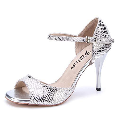 Pro Dancer Women Argentina Tango Dance Shoes Sandals Salsa Shoe High Heel Leather Sole, Silver Leather, 7.5 B(M) US (Best Argentine Tango Shoes)