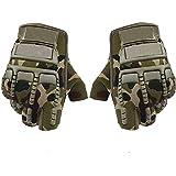 Kandid Bike Motorcycle Army Print Motorbike Half Racing Gloves (Medium, Green, Set of 2)