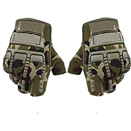 Adroitz Half Cut Racing Biking Driving Motorcycle Gloves (Medium, Green, Set of 2)