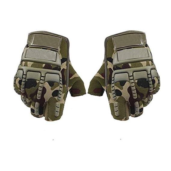 Kandid Bike Motorcycle Army Print Motorbike Half Racing Gloves (Large, Green, Set of 2)