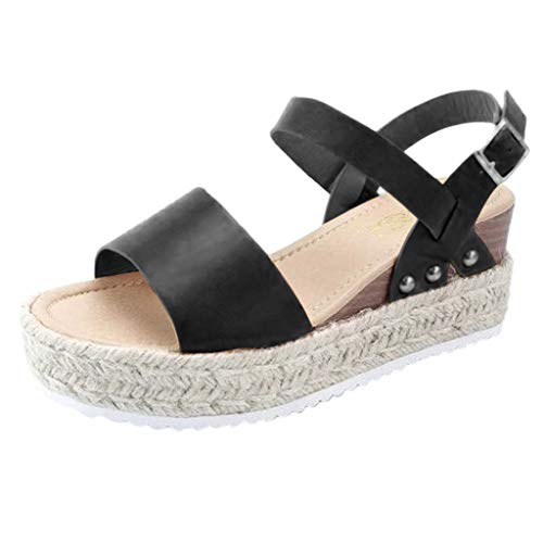 Byyong Womens Buckle Strap Wedges Sandals Summer Fashion Platform Retro Peep Toe Beach Shoes Sandals(US:6, Black)