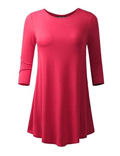 all-for-you-womens-3-4-sleeve-round-neck-flare-hem-tunic-fuchsia-medium