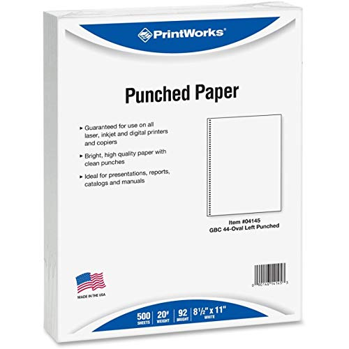 (PrintWorks Professional Prepunched Paper, 8.5 x 11, 20 lb, 44-Oval Hole Spiral Coil (4:1 Pitch) Binding Paper, 500 Sheets, White (04145))