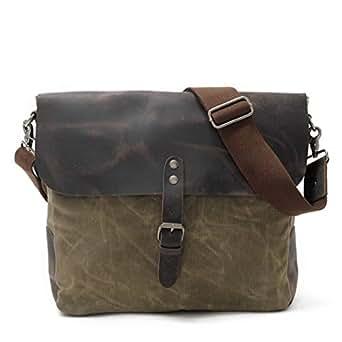 Mens Bag School and Work Men's Messenger Shoulder Bag Vintage Canvas Briefcase Crossbody Day Bag High capacity (Color : ArmyGreen)