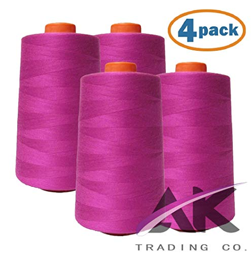 AK Trading 4-Pack HOT Pink All Purpose Sewing Thread Cones (6000 Yards Each) of High Tensile Polyester Thread Spools for Sewing, Quilting, Serger Machines, Overlock, Merrow & Hand Embroidery.
