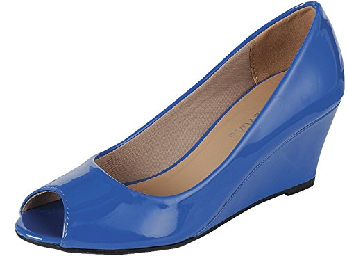 Forever Link Women's Peep Toe Slip On Wedge Pump,9 B(M) US,Blue (Blue Peep Toe Shoes)