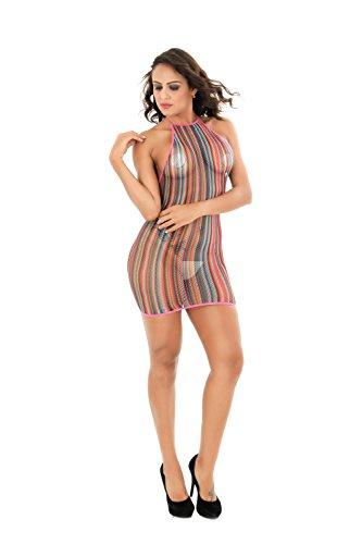(EVAbaby Women Lingerie Rainbow Fishnet Babydoll Sexy Mini Dress Stretch Halter Chemise)