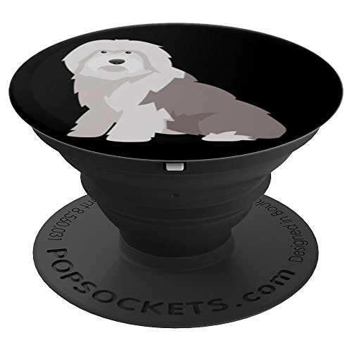 Old English Sheepdog Dog Design Black Background - PopSockets Grip and Stand for Phones and Tablets
