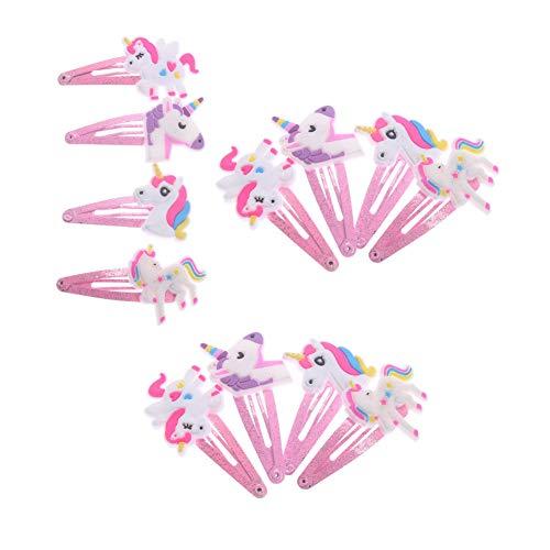 Aysekone 12 Pcs/Pack 4 Colors Glitter Unicorn Hairclips Cartoon Animal Hair Clips Cute Plastic Hairpins Kids Headwear Hair Accessories for Girls Toddlers
