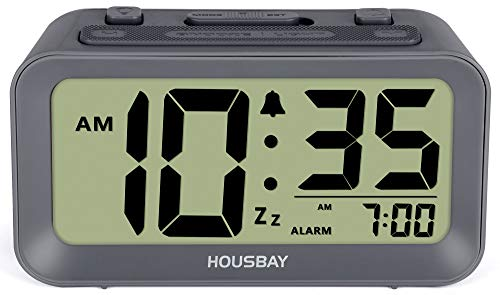 Battery Alarm Clocks for Bedrooms - Large Numbers Simple Setup Good View Angles Two Backlight Choices 12/24 Hour Cool Gray
